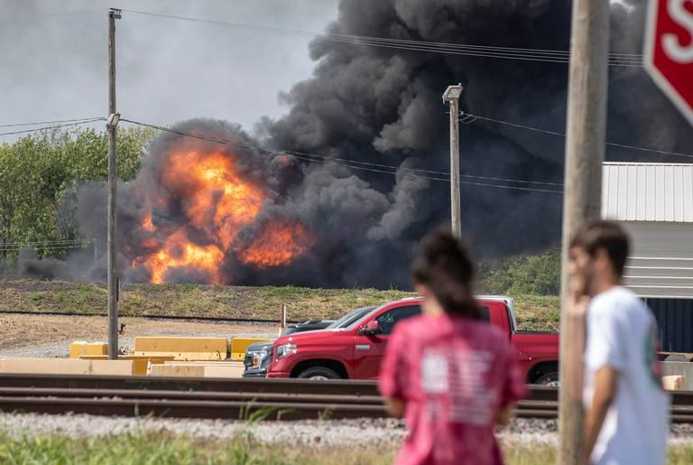 Train vehicle  on fire after IL  derailment