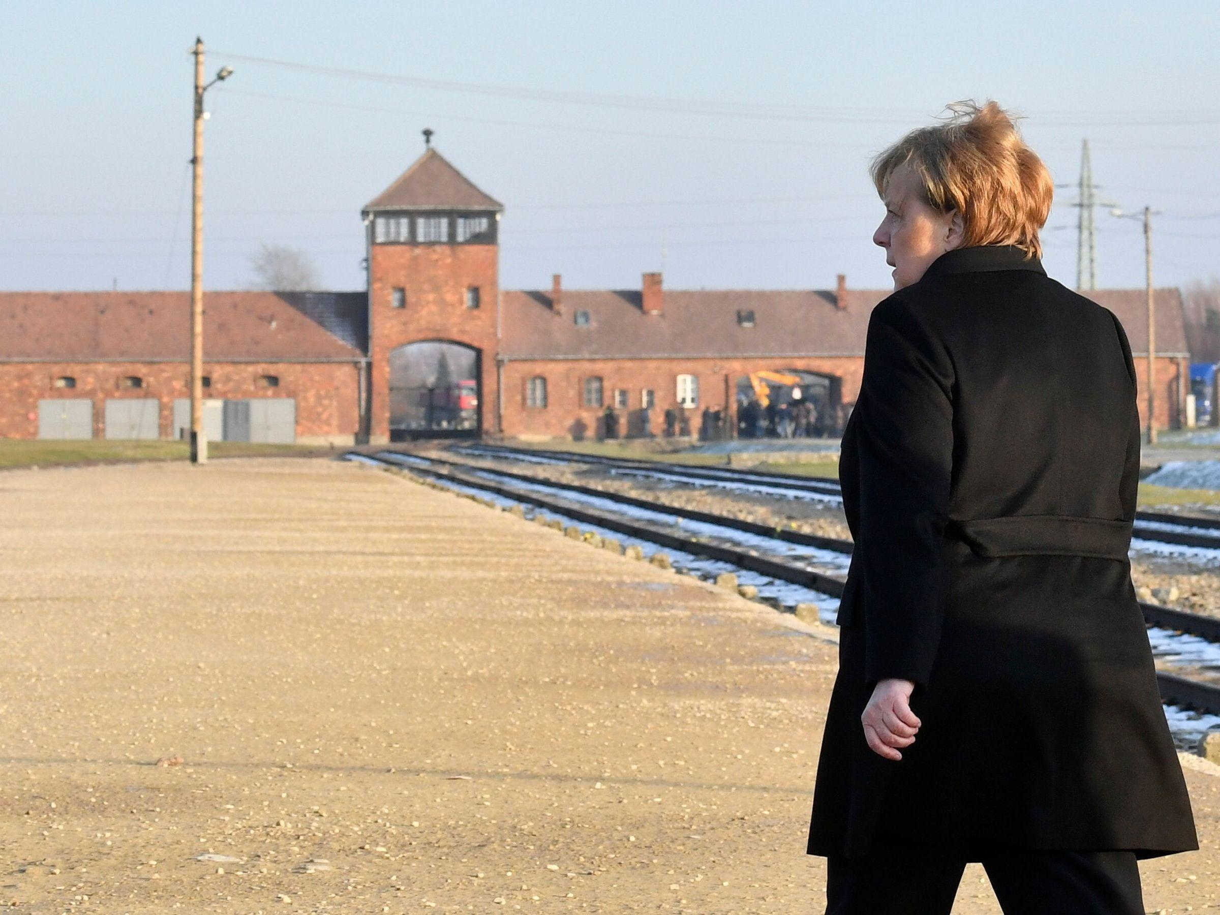 Image result for merkel in auschwitz