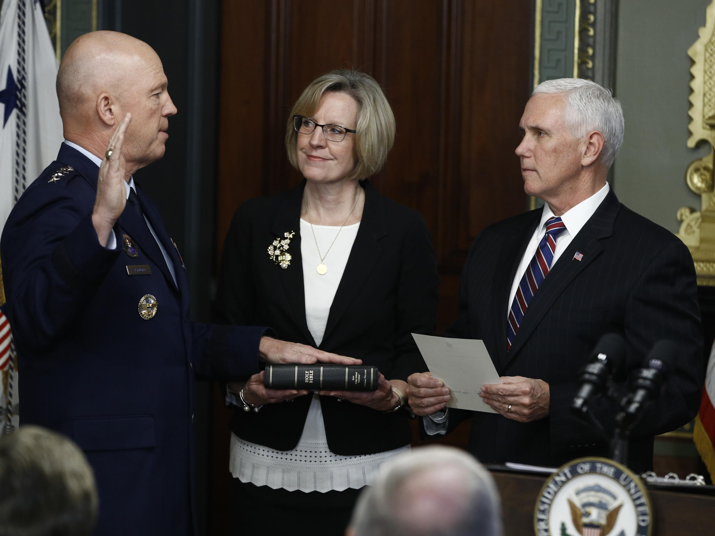 Commander Sworn In As First Member Of New Space Force