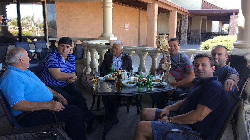 <p>A group of Serbian-speaking men have a leisurely lunch at the Q2 Café in Phoenix. The café, run by a Bosnian Serb refugee, aims to attract patrons from all parts of the former Yugoslavia.</p>