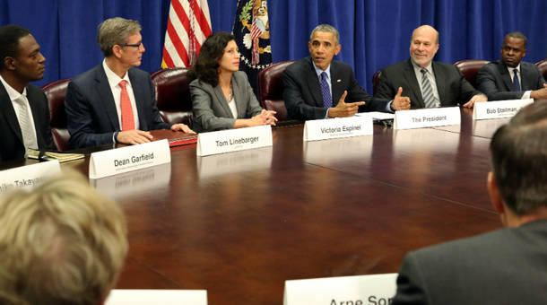 President Obama meeting with agriculture and business leaders at the Department of Agriculture in Washington, D.C. back in October of last year.The President discussed the benefits of the Trans-Pacific Partnership for American businesses and workers.