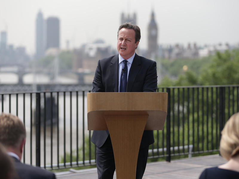 """British Prime Minister David Cameron delivers a speech on the upcoming EU referendum in London on June 7. Concerns about a possible """"Brexit"""" from the EU have rattled financial markets."""
