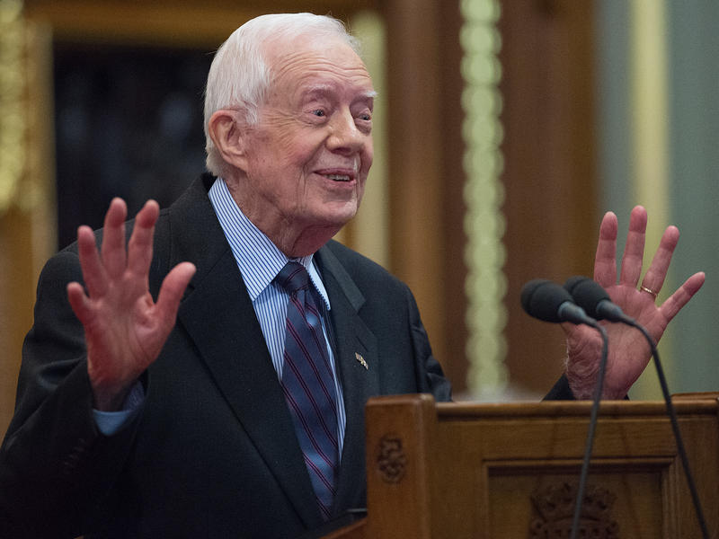 "Former President Jimmy Carter delivers a lecture on the eradication of the Guinea worm at London's House of Lords on Feb. 3. The lecture title: ""Final Days of the Fiery Serpent: Guinea Worm Eradication."""