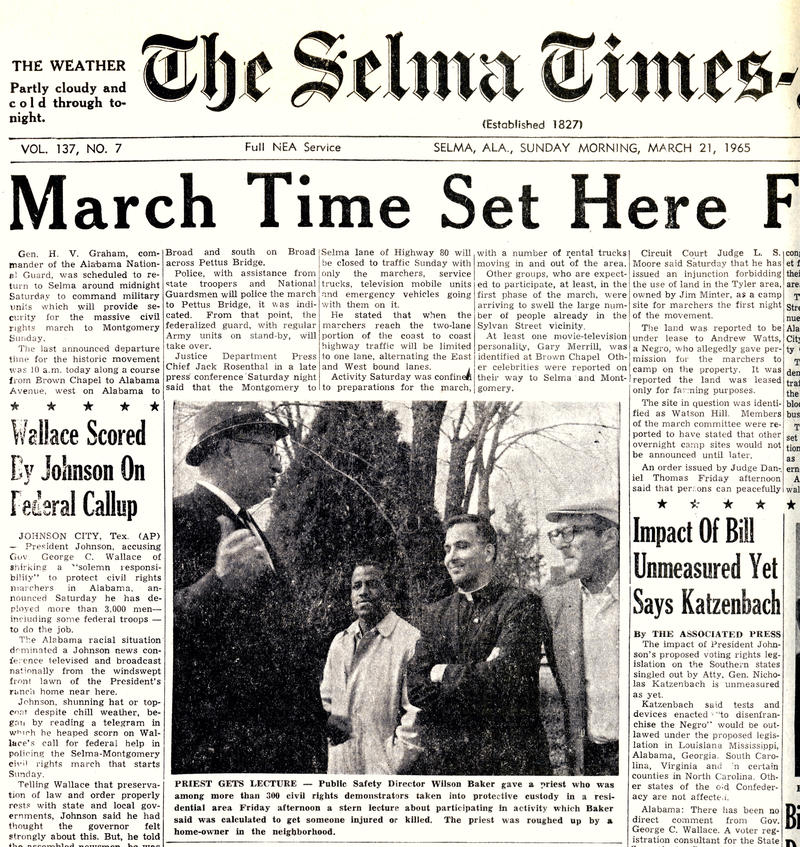 The front page of the 1965 Selma Times-Journal, which showed Bernard Kleina — then Father Kleina — being arrested.