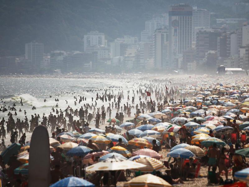 People jam Ipanema beach in Rio de Janeiro.