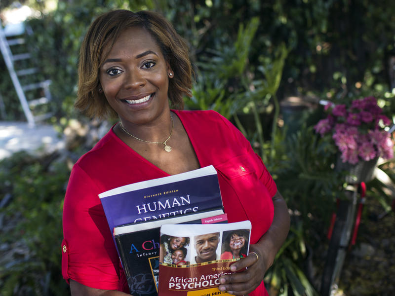 Asia Duncan, 32, is formerly a seller for a jewelry maker. Now, she's attending Pasadena City College and is working to be a doctor.