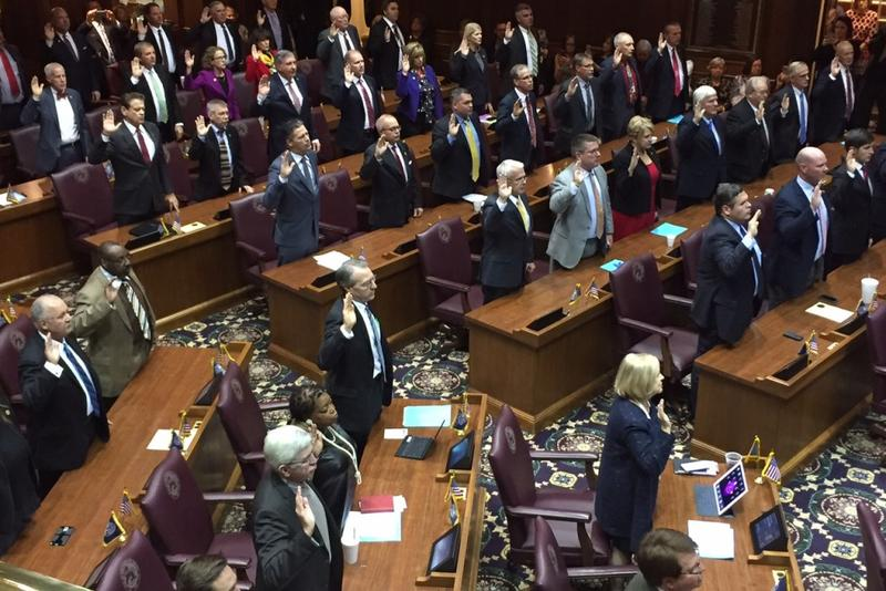 Indiana House legislators are sworn in together at the ceremonial gathering known as Organization Day. (Brandon Smith/IPB News)