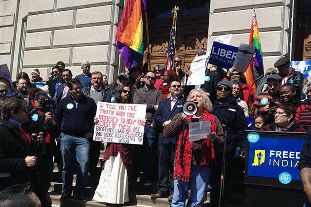 FILE PHOTO: Thousands rallied at the Statehouse March 28 to protest the passage of the Religious Freedom Restoration Act. (Michelle Johnson/WFYI)