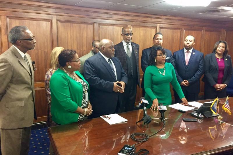 Members of the Indiana Black Legislative Caucus discuss their 2017 agenda. (Brandon Smith/IPB News)