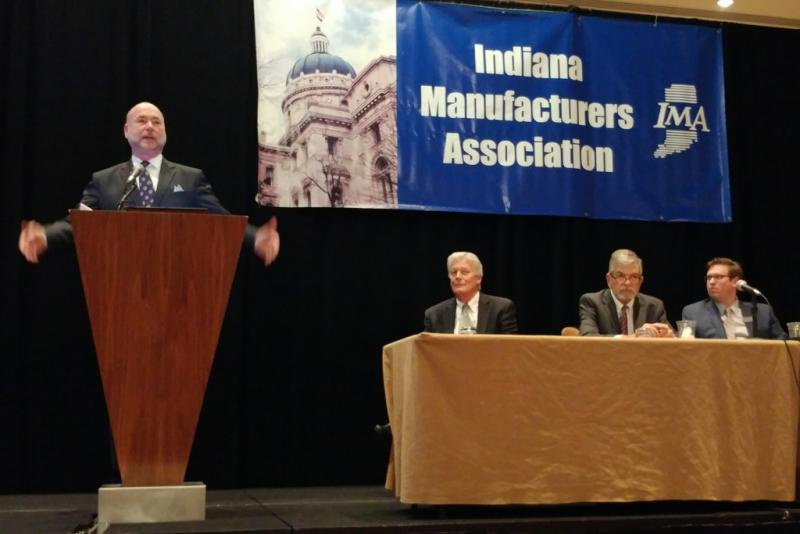 House Speaker Brian Bosma talks about efficient business reforms at the Indiana Manufacturers Association annual legislative briefing. (Annie Ropeik/IPB News)