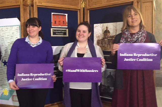 Newly formed organization Indiana Reproductive Justice Coalition members at the Statehouse. (Jill Sheridan/IPB News)