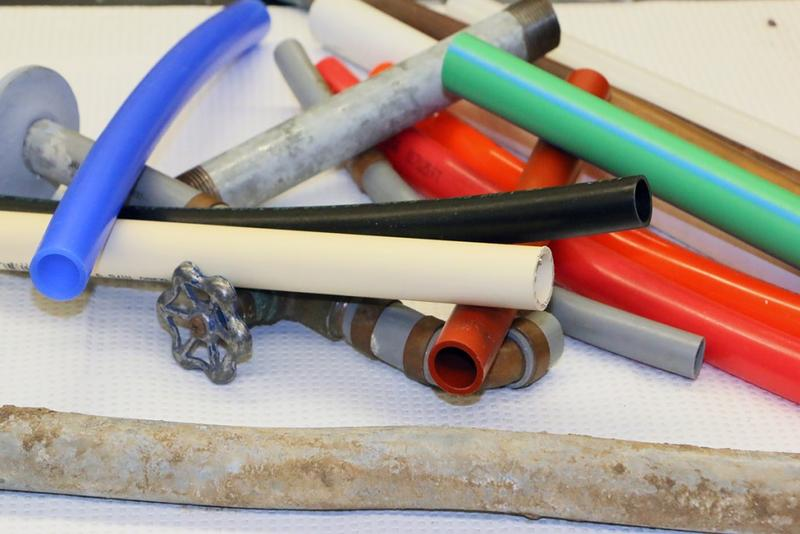 There's a wide array of drinking water piping options available to builders. Many pipes are entirely plastic and some are metal pipes with plastic inner coatings. (Erin Easterling/Purdue University)