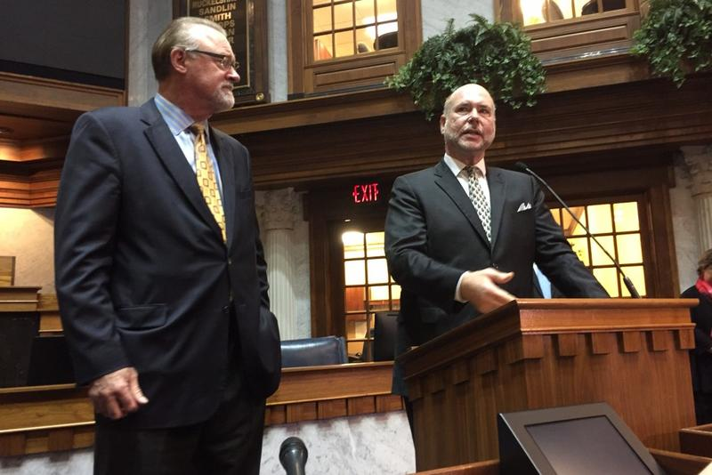 Senate President Pro Tem David Long (R-Fort Wayne), at left, looks on as Speaker Brian Bosma (R-Indianapolis) discusses Governor Eric Holcomb's first State of the State address. (Brandon Smith/IPB News)