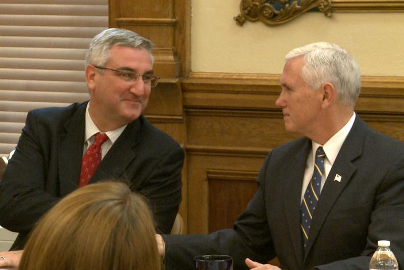 Governor Eric Holcomb (left) and his predecessor, Vice President Mike Pence, shortly after November's election. (J.D. Gray/WTIU)