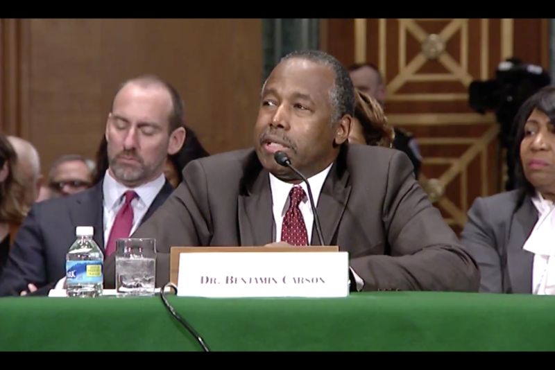 Dr. Ben Carson responds to Indiana U.S. Sen. Joe Donnelly at his confirmation hearing to lead the federal Department of Housing and Urban Development. (Provided by Sen. Joe Donnelly)