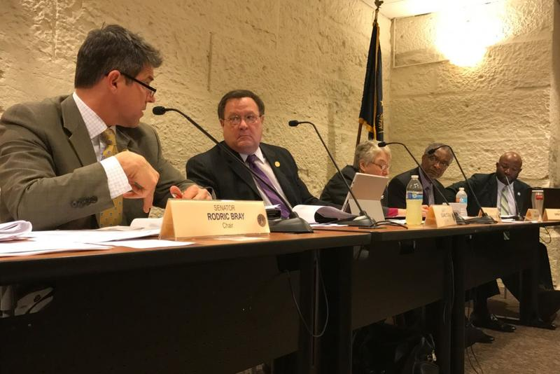 The Senate Judiciary Committee discusses a parental consent bill. (Brandon Smith/IPB News)