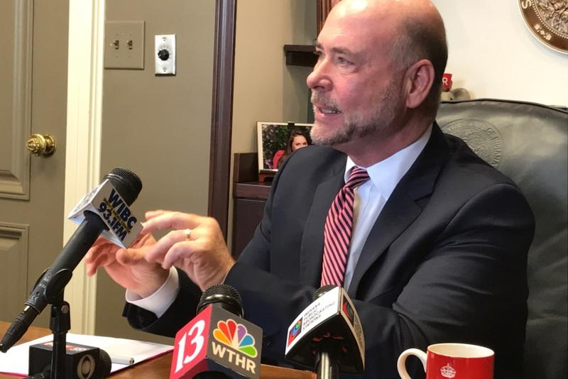House Speaker Rep. Brian Bosma (R-Indianapolis) speaks with reporters in his office. (Brandon Smith/IPB News)