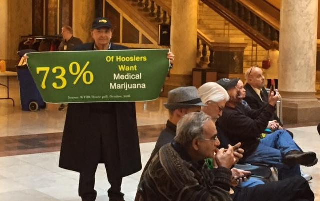 Supporters at the Statehouse meet in favor of medical cannabis. (Jill Sheridan/IPB News)
