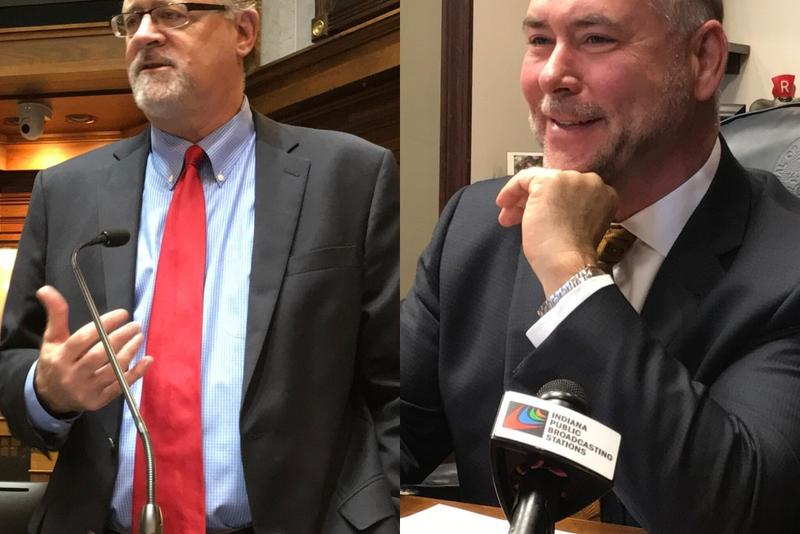 Senate President Pro Tem David Long (R-Fort Wayne), left, and House Speaker Brian Bosma (R-Indianapolis), right, say HIP 2.0 faces an uncertain future because of potential federal health care reform. (Brandon Smith/IPB News)