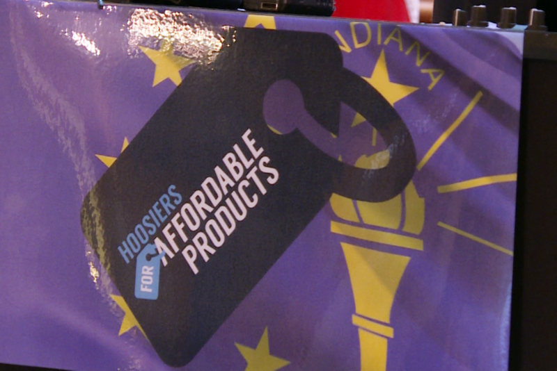 Hoosiers for Affordable Products is a part of a national coalition of lobbyists and businesses. Members spoke on March 15 at the Indiana Statehouse against the proposed border adjustment tax. (Lauren Chapman/IPB News)