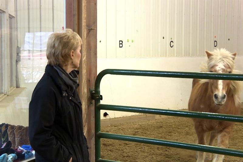 Program director at Agape Therapeutic Riding, Linda Hazard, watches as men in the group participate in a training activity with the horses called lunging. (Jill Sheridan/IPB News)