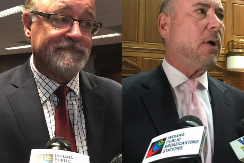 Senate President Pro Tem David Long (R-Fort Wayne), left, and House Speaker Brian Bosma (R-Indianapolis), right, say they're not sure a permanent solution to a cold beer sales controversy will come this session. (Brandon Smith/IPB News)