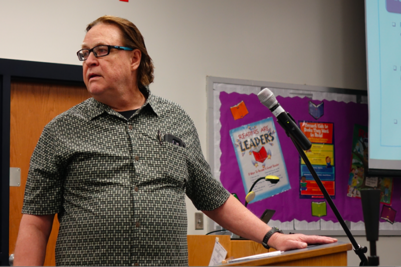 Jim Scheurich, a professor of urban education studies in the IU School of Education at IUPUI, makes a comment during the IPS School Board work session at School 15 on Tuesday, April 18, 2019. Scheurich is worried that the closure of schools will have uneq