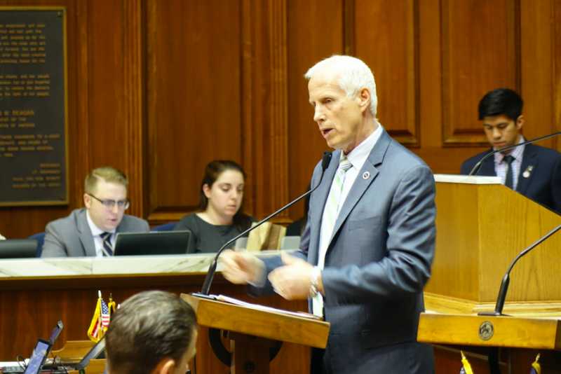 Legislation authored by State Rep. Bob Behning (R-Indianapolis) that would replace ISTEP and create a new statewide assessment system could soon become law. He talks about the bill on House floor, Friday April 21, 2017 (Credit: Eric Weddle/WFYI)