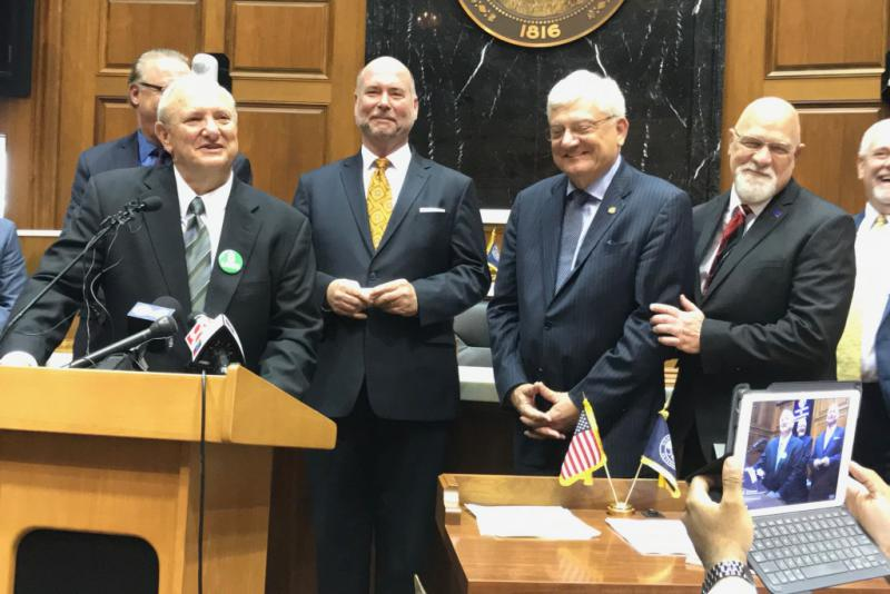 GOP legislative leaders discuss the details of the final road funding package. (Brandon Smith/IPB News)