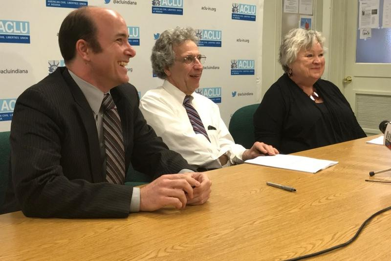 (From left) ACLU of Indiana attorney Gavin Rose, ACLU of Indiana Legal Director Ken Falk and Planned Parenthood of Indiana and Kentucky CEO Betty Cockrum hail a federal court ruling halting a provision from 2016's controversial anti-abortion law. (Brandon
