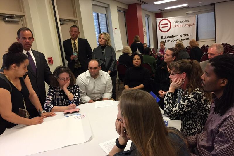 Superintendent of Public Instruction Jennifer McCormick, center, listens as educators discuss ways to help failing schools during a ESSA Community Meeting on Tuesday April 4, 2017 at the Indianapolis Urban League. State Board of Education member B.J. Watt