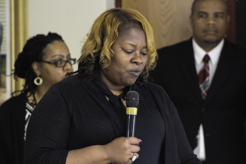Keesha Daniels advocates for Calumet residents with state and national NAACP leaders the day EPA Administrator Scott Pruitt visted East Chicago. Pruitt was invited to the NAACP meeting, but declined to attend. (Annie Ropeik/IPB News)