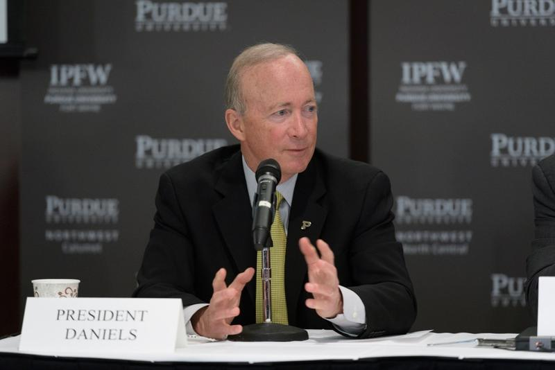 Purdue President Mitch Daniels Mitch Daniels on discusses the creation of a new public university. (Purdue University photo/John Underwood)