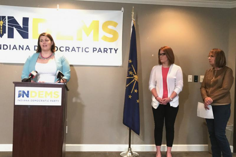 Indianapolis resident Ali Brown talks about the potential impact of the GOP health care bill. With her are other Hoosier women who say they'll be negatively affected by the legislation. (Brandon Smith/IPB News)