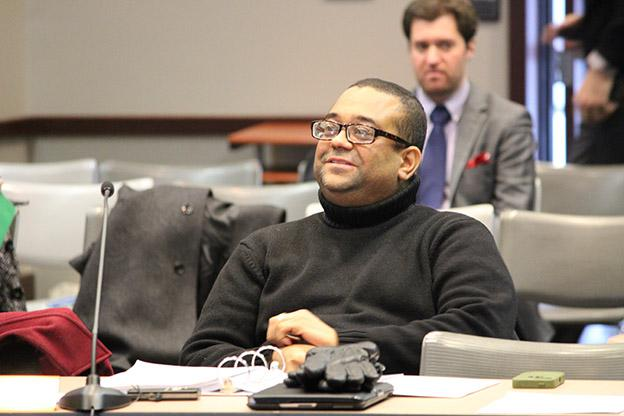 Tony Walker listens during a State Board of Education meeting in 2014. He vacated the board when a law dictated a restructuring of members, but Gov. Holcomb re-appointed him after a recent vacancy. (Rachel Morello/StateImpact Indiana)