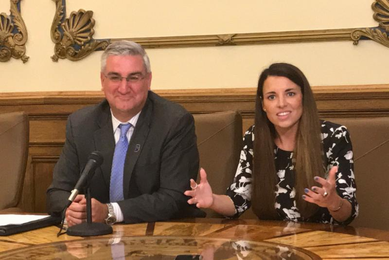 Gov. Eric Holcomb, left, announced the creation of a new cabinet position, naming LaPorte Mayor Blair Milo, right, as the state's first Secretary of Career Connections and Talent. (Brandon Smith/IPB News)
