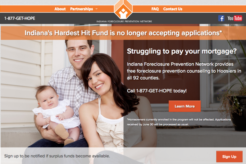 This notice was posted on the Indiana Hardest Hit Fund's website Friday, June 30.