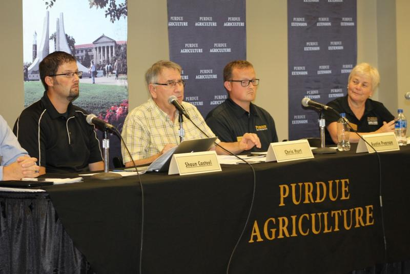 Purdue University agronomists announce Indiana's 2017 forecast for corn and soybeans at the Indiana State Fair. (Annie Ropeik/IPB News)