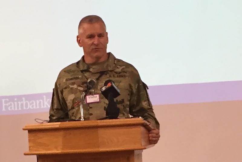 Indiana National Guard behavioral health officer Maj. Scott Edwards speaks at Fairbanks. (Jill Sheridan/IPB News)