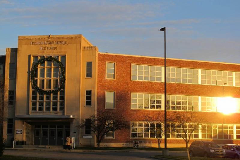 Emmerich Manual High School has been operated by Charter Schools USA since the 2012-13 school year as part of a state intervention. (Credit: StateImpact Indiana)