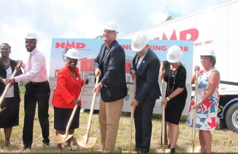 State, local and company officials broke ground on HMD Trucking's new headquarters in Gary earlier this month. (Courtesy IEDC)