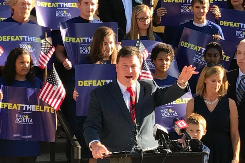 U.S. Rep. Todd Rokita (R-Brownsburg) launches his Senate bid on the south steps of the Indiana Statehouse (Brandon Smith/IPB News)
