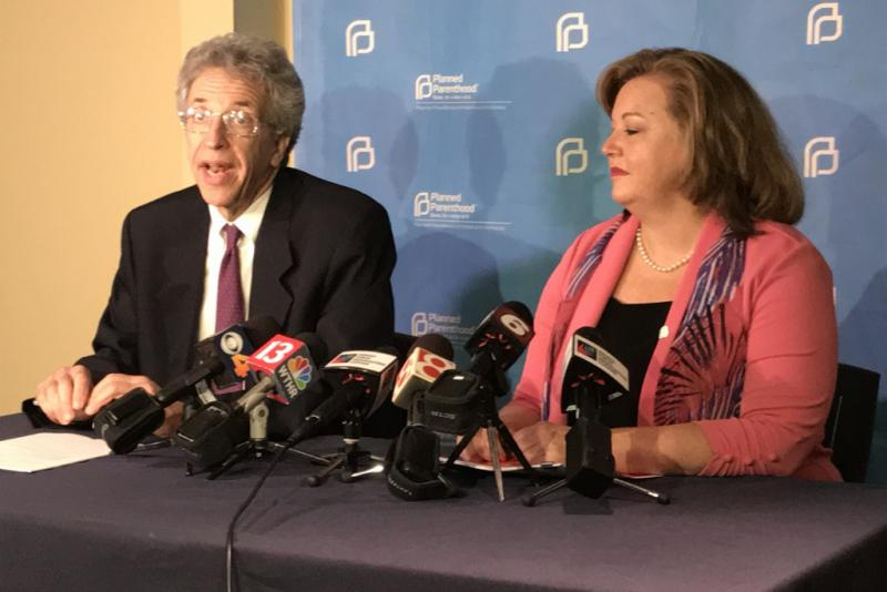 ACLU of Indiana Legal Director Ken Falk (left) and Planned Parenthood of Indiana and Kentucky CEO Christie Gillespie discuss their latest court victory. (Brandon Smith/IPB News)