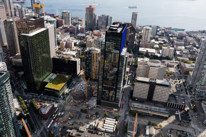Amazon's Seattle headquarters occupies 8.1 million square feet of space. The company says its next HQ could cover nearly the same area by the time it's fully built out. (Courtesy Amazon)