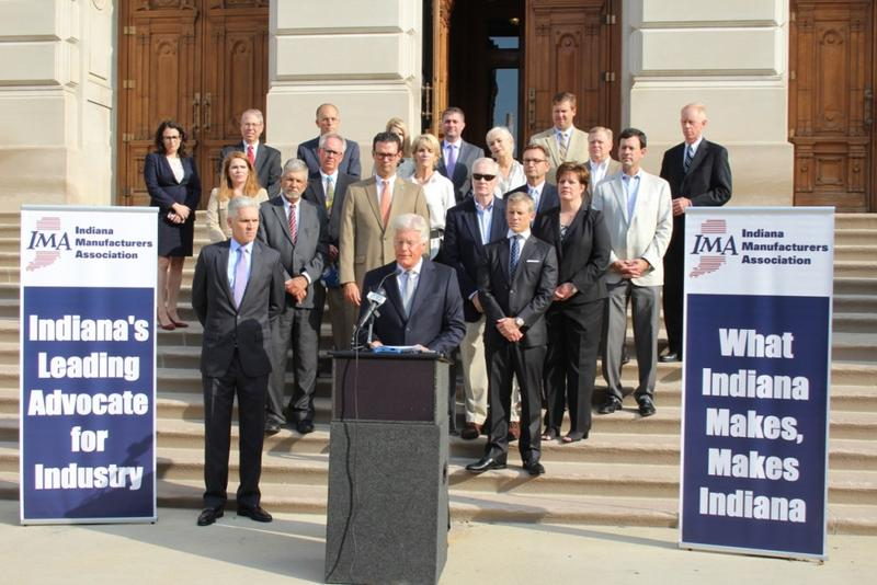 Indiana Manufacturers Association president Brian Burton laid out the industry's 2018 legislative priorities alongside Hoosier factory executives at the Statehouse Thursday. (Annie Ropeik/IPB News)