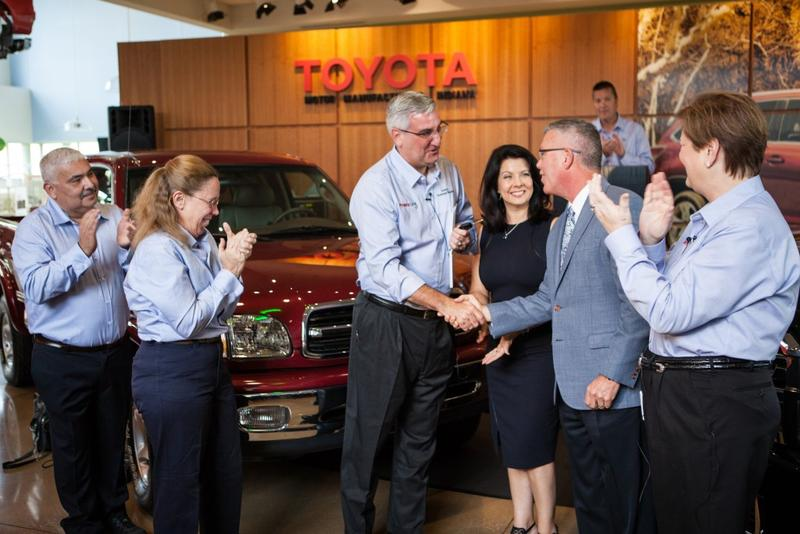 Gov. Eric Holcomb received the keys to the five millionth vehicle made at Toyota's Princeton factory in September. (Courtesy: Toyota)