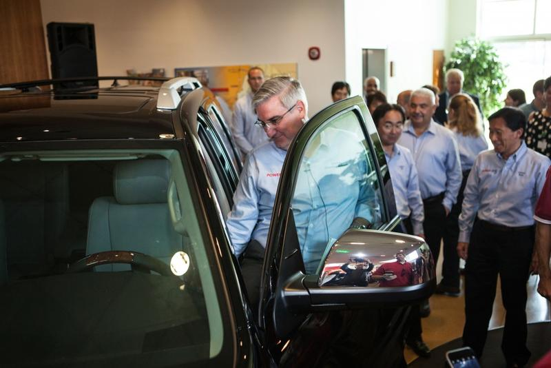 Gov. Eric Holcomb checks out Toyota Motor Manufacturing Indiana's five millionth vehicle at a ceremony at the Princeton factory in September. (Courtesy: Toyota)