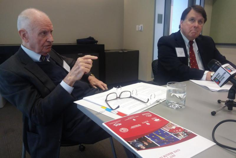 Former U.S. Rep. Lee Hamilton and former Indiana Supreme Court Chief Justice Randall Shepard discuss civic engagement. (Lauren Chapman/IPB News)