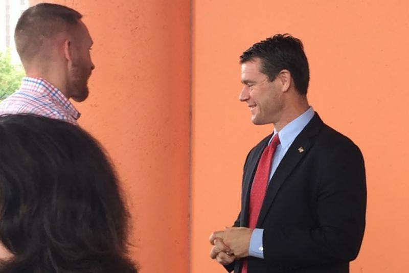 U.S. Sen. Todd Young meets with VA administrators in Indianapolis. (Jill Sheridan/IPB News)