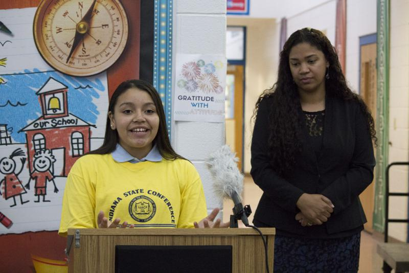 Naomi Caseras, an eighth grader at East Chicago Urban Enterprise Academy, was one of the students whose samples were tested. Hers came back negative. (Annie Ropeik/IPB News)